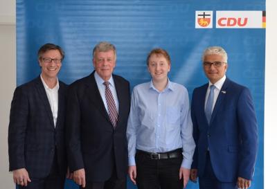 Kreisvorsitzender Christos Katzidis, Bernd Werner, Christian Weiler, Oberbürgermeister Ashok Sridharan (v.l.)